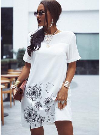Print Shift Round Neck Short Sleeves Midi Casual Tunic Dresses