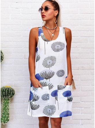 Print Shift U-Neck Sleeveless Midi Casual Vacation Tank Dresses