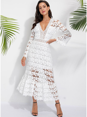Lace Solid A-line V-Neck Long Sleeves Flare Sleeve Midi Casual Vacation Skater Dresses