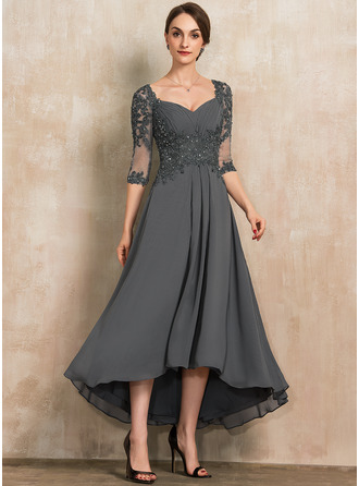 A-Line Sweetheart Asymmetrical Chiffon Lace Mother of the Bride Dress With Beading Sequins