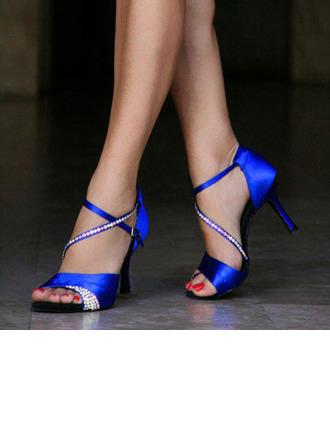 Women's Satin Heels Latin With Buckle Sequin Dance Shoes