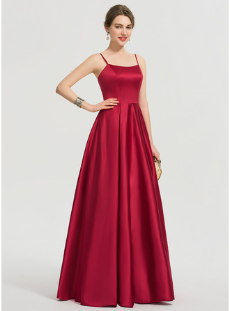 A-Line Square Neckline Floor-Length Satin Prom Dresses