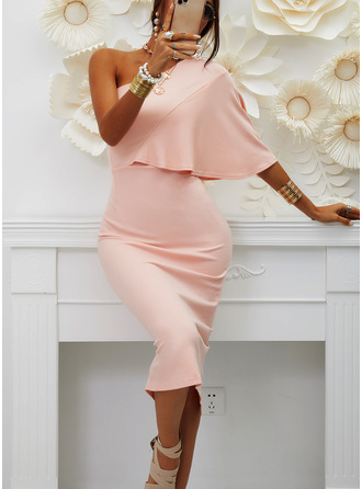 Solid Bodycon One Shoulder 1/2 Sleeves Midi Party Sexy Pencil Dresses