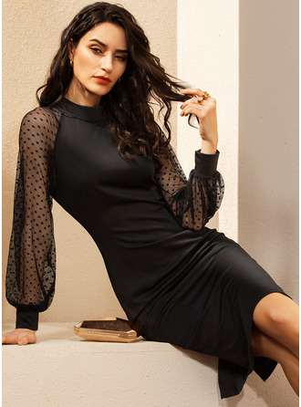 Black Long Sleeves Midi Dresses