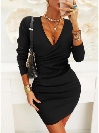 Solid Bodycon V-Neck Long Sleeves Midi Elegant Little Black Dresses