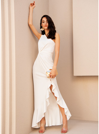 One Shoulder Sleeveless Sheath Maxi Dresses