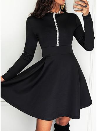 Sequins Solid A-line Round Neck Long Sleeves Midi Elegant Skater Dresses