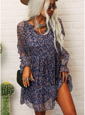 Floral Print Shift V-Neck Long Sleeves Midi Casual Tunic Dresses