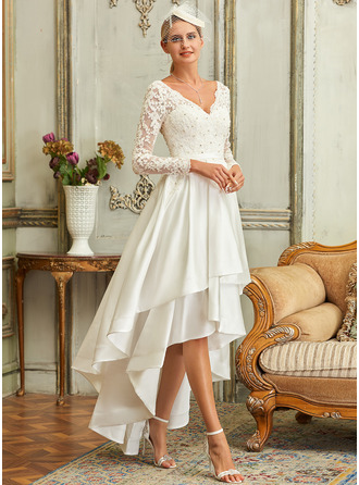 A-Line V-neck Asymmetrical Satin Lace Wedding Dress