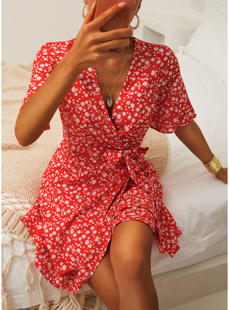 Floral Print A-line V-Neck Short Sleeves Midi Casual Elegant Skater Wrap Dresses