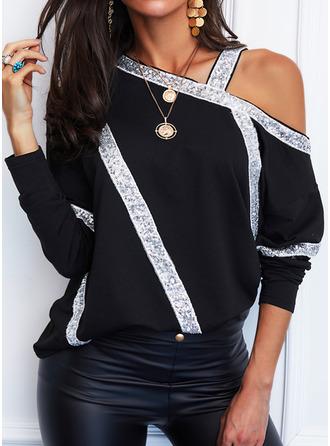 Regular Cotton Blends One Shoulder Sequins Fitted Blouses