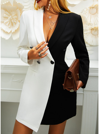 Color Block Bodycon Suit Collar Long Sleeves Midi Casual Elegant Dresses