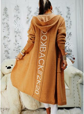 Hooded Long Sleeves Print Pocket Casual Cardigans