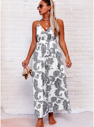 Print Sheath V-Neck Sleeveless Maxi Boho Casual Vacation Tank Dresses
