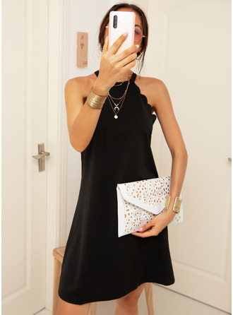 Solid Shift Halter Sleeveless Midi Casual Dresses
