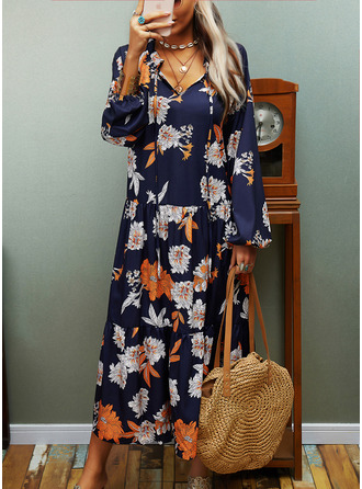 Floral Print Shift V-Neck Long Sleeves Midi Casual Dresses