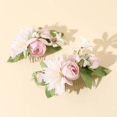 Beautiful Silk Flower/Frosted flower Tiaras/Flower Girl's Headwear/Combs & Barrettes/Flowers & Feathers (Set of 2)