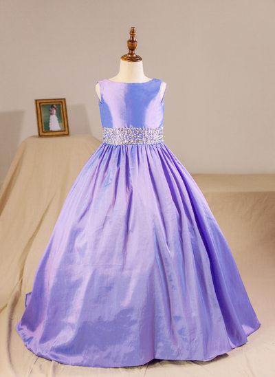 Ball Gown Floor-length Flower Girl Dress - Taffeta Sleeveless Scoop Neck With Beading (Petticoat NOT included)