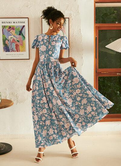 A-Line Ankle-Length Evening Dress
