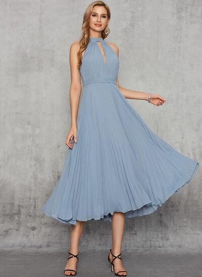 A-Line Halter Tea-Length Chiffon Evening Dress