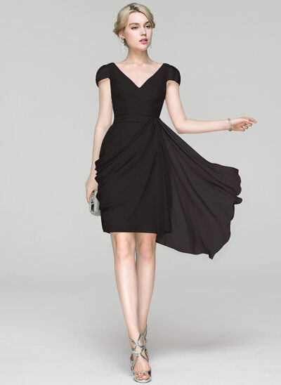 Sheath/Column V-neck Knee-Length Chiffon Cocktail Dress With Ruffle Cascading Ruffles