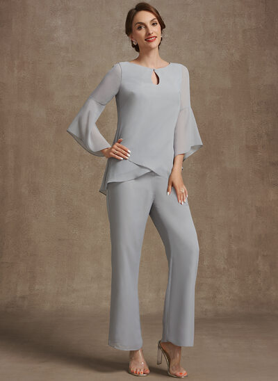 Jumpsuit/Pantsuit Scoop Neck Ankle-Length Chiffon Mother of the Bride Dress