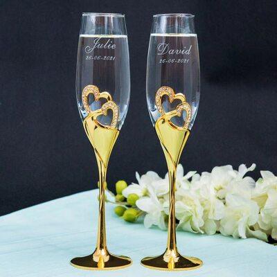 Groom Gaver - Personlig Hjerte Glass Zinc Aluminiums Champagnefløyter