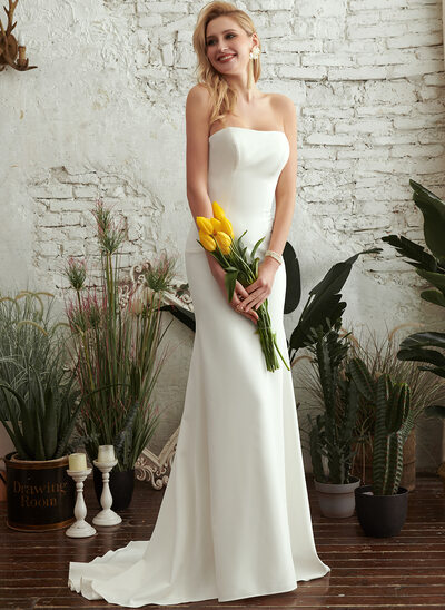 Trumpet/Mermaid Strapless Sweep Train Wedding Dress