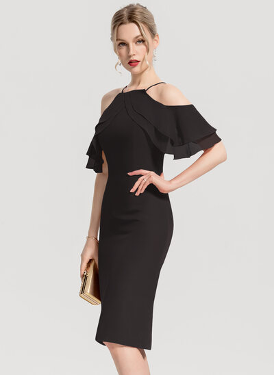 Sheath/Column Square Neckline Knee-Length Chiffon Cocktail Dress With Cascading Ruffles