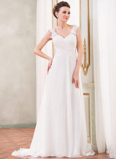 A-Line/Princess V-neck Sweep Train Chiffon Wedding Dress With Lace Beading Sequins