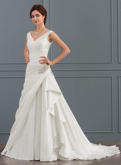 A-Line/Princess V-neck Court Train Satin Wedding Dress With Beading