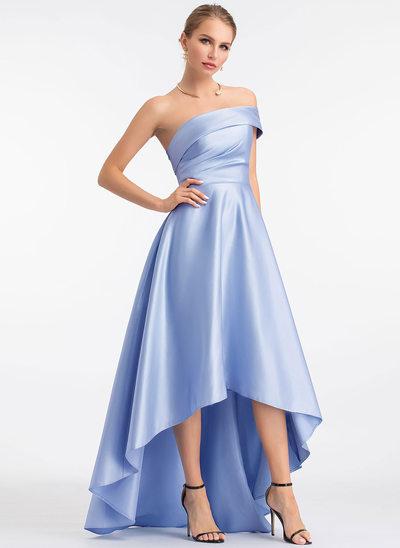 A-Line One-Shoulder Asymmetrical Satin Prom Dresses