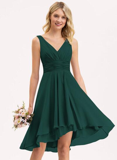 A-Line V-neck Asymmetrical Chiffon Bridesmaid Dress With Ruffle