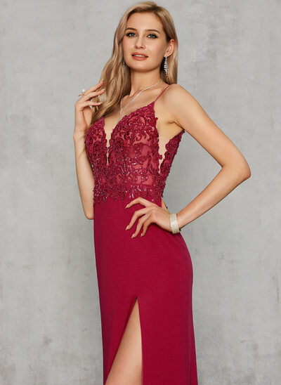 Sheath/Column V-neck Floor-Length Jersey Evening Dress With Sequins