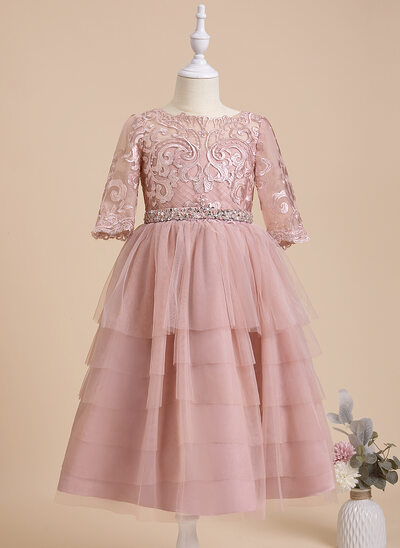A-Line Tea-length Flower Girl Dress - Tulle/Lace 1/2 Sleeves Scoop Neck With Beading/Sequins