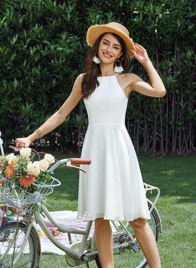 A-Line Halter Knee-Length Wedding Dress