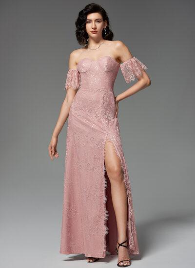A-Line Sweetheart Floor-Length Lace Evening Dress