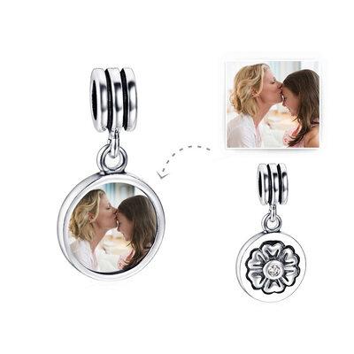 personlig Bilde Dingle Perler med Lys Rosa - Valentines Gaver