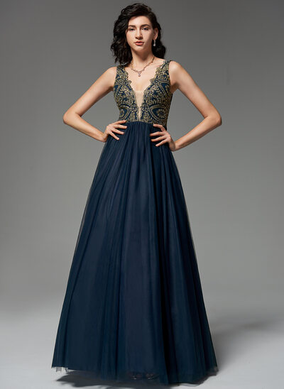 A-Line V-neck Floor-Length Tulle Evening Dress With Beading