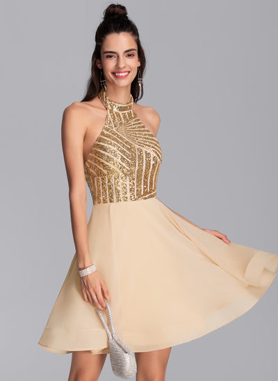 A-Line Halter Short/Mini Chiffon Homecoming Dress