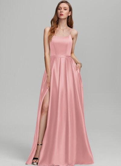 A-Line Square Neckline Floor-Length Satin Bridesmaid Dress With Split Front Pockets