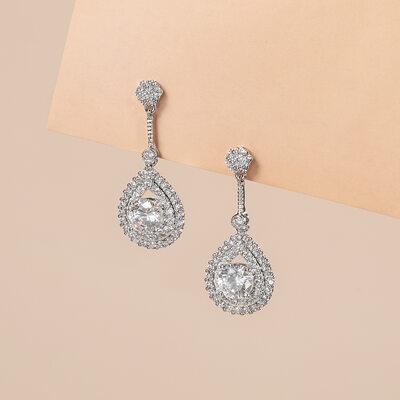 Unique Zircon/Platinum Plated Ladies' Earrings