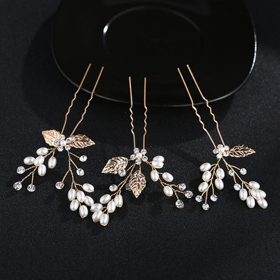 Ladies Elegant Alloy Hairpins With Venetian Pearl (Set of 3)