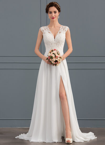 A-Line V-neck Sweep Train Chiffon Wedding Dress With Split Front