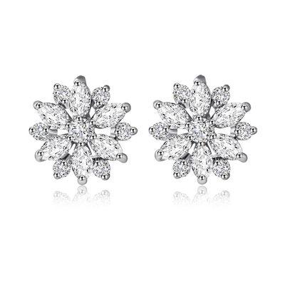 Snowflakes Shaped Zircon/Platinum Plated Ladies' Earrings