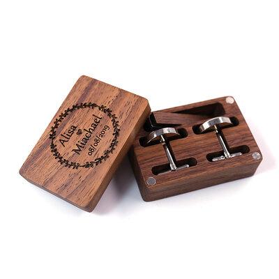 Groom Gifts - Personalized Elegant Vintage Wooden Cufflinks Tie Clip