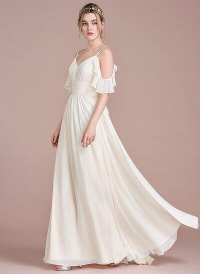 A-Line V-neck Floor-Length Chiffon Wedding Dress With Cascading Ruffles