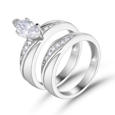 Stackable Marquise Cut 925 Silver Bridal Sets