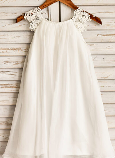 A-Line Knee-length Flower Girl Dress - Chiffon Sleeveless Scoop Neck With Lace