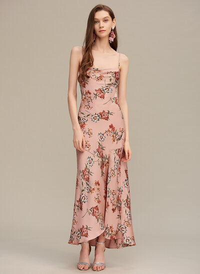 Sheath/Column Square Neckline Asymmetrical Prom Dresses With Split Front